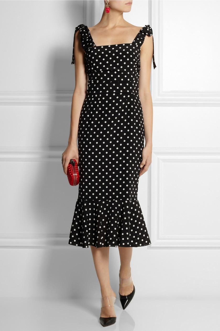 Dolce Amp Gabbana Polka Dotprint Stretchsilk Dress In Black