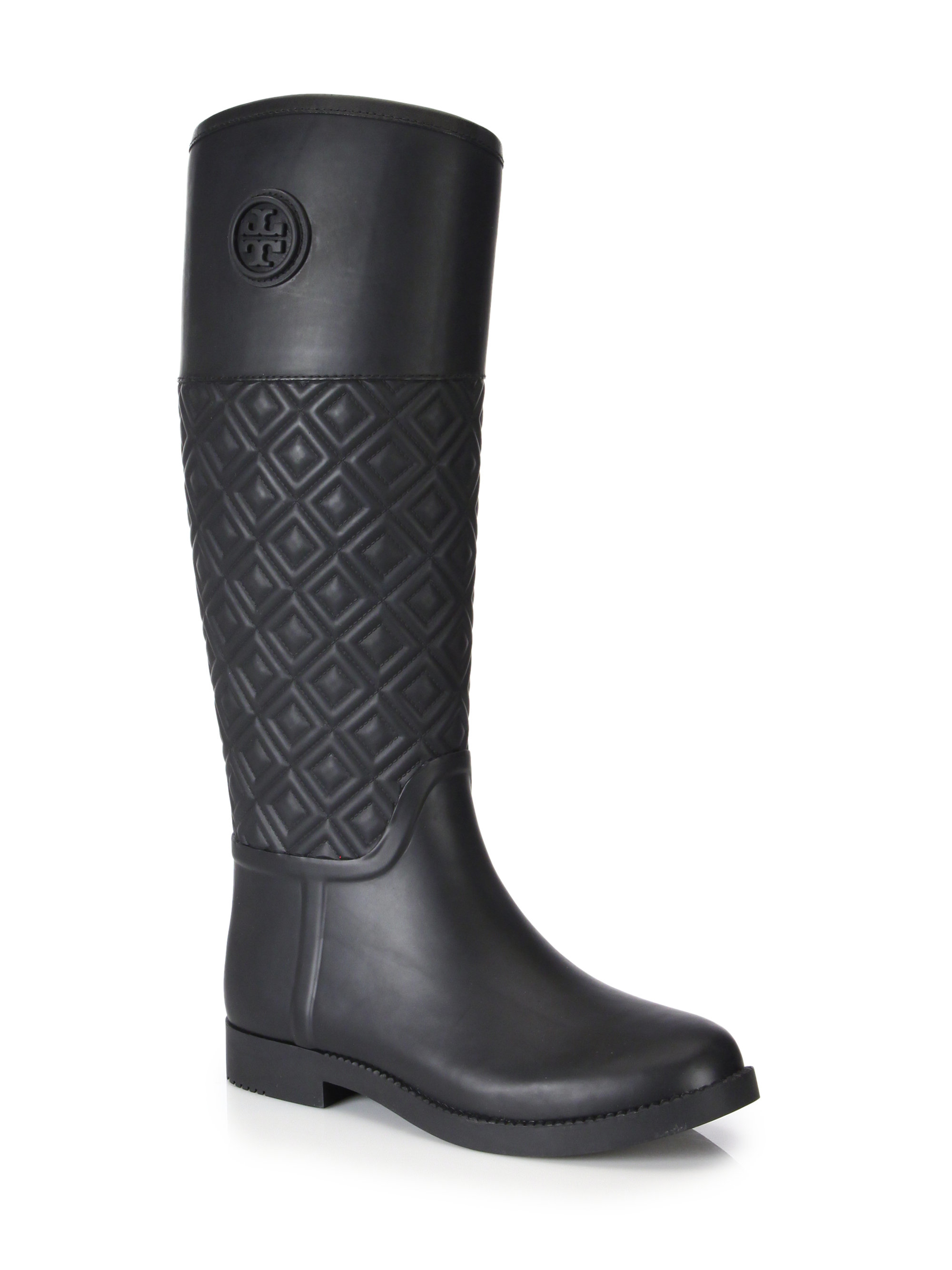 Tory burch Marion Quilted Rubber Rain Boots in Black | Lyst : quilted rainboots - Adamdwight.com