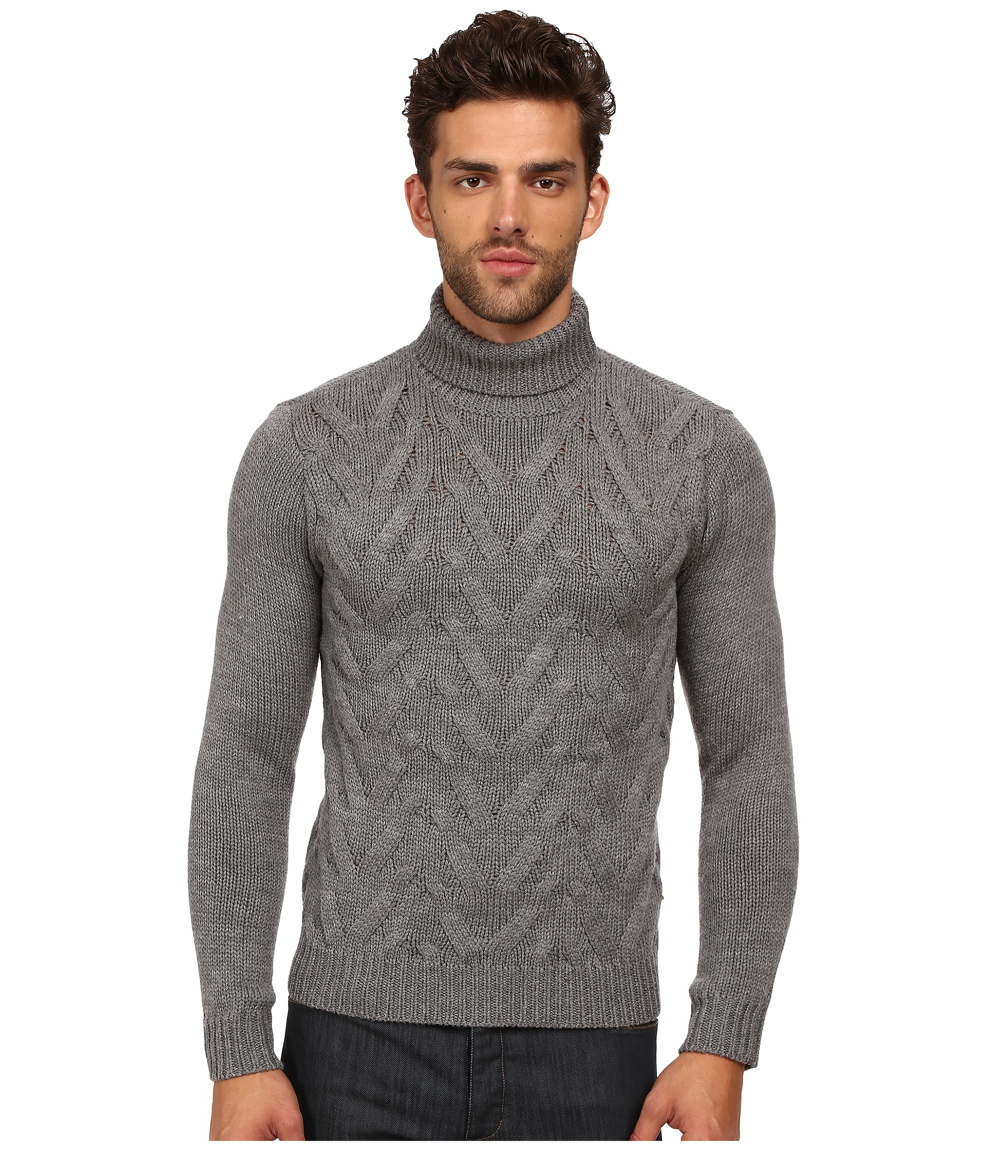 017f40e24c Lyst - The Kooples Sport Cable Wool Turtleneck Sweater in Gray for Men