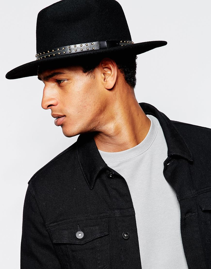 9204552092 ASOS Fedora Hat In Black Felt With Wide Brim And Studded Band in Black for  Men - Lyst