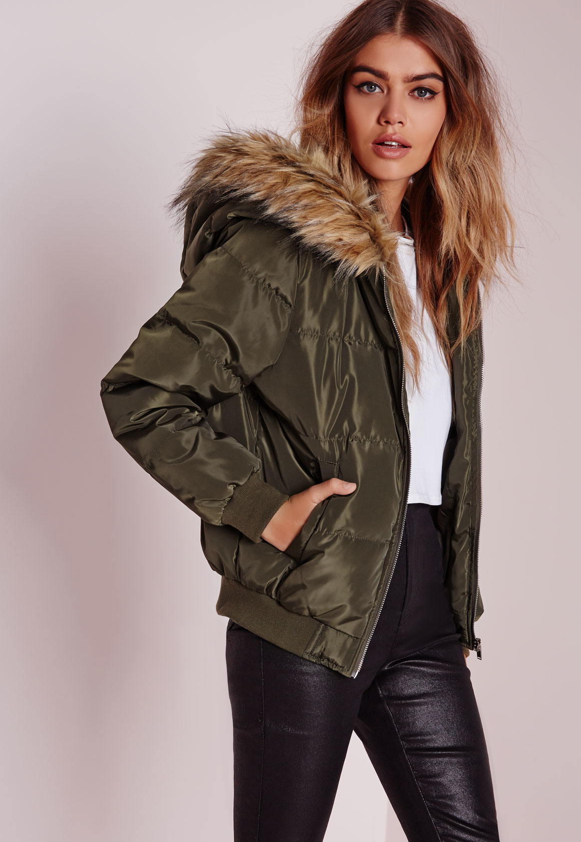 Missguided Padded Faux Fur Hood Jacket Khaki In Natural Lyst