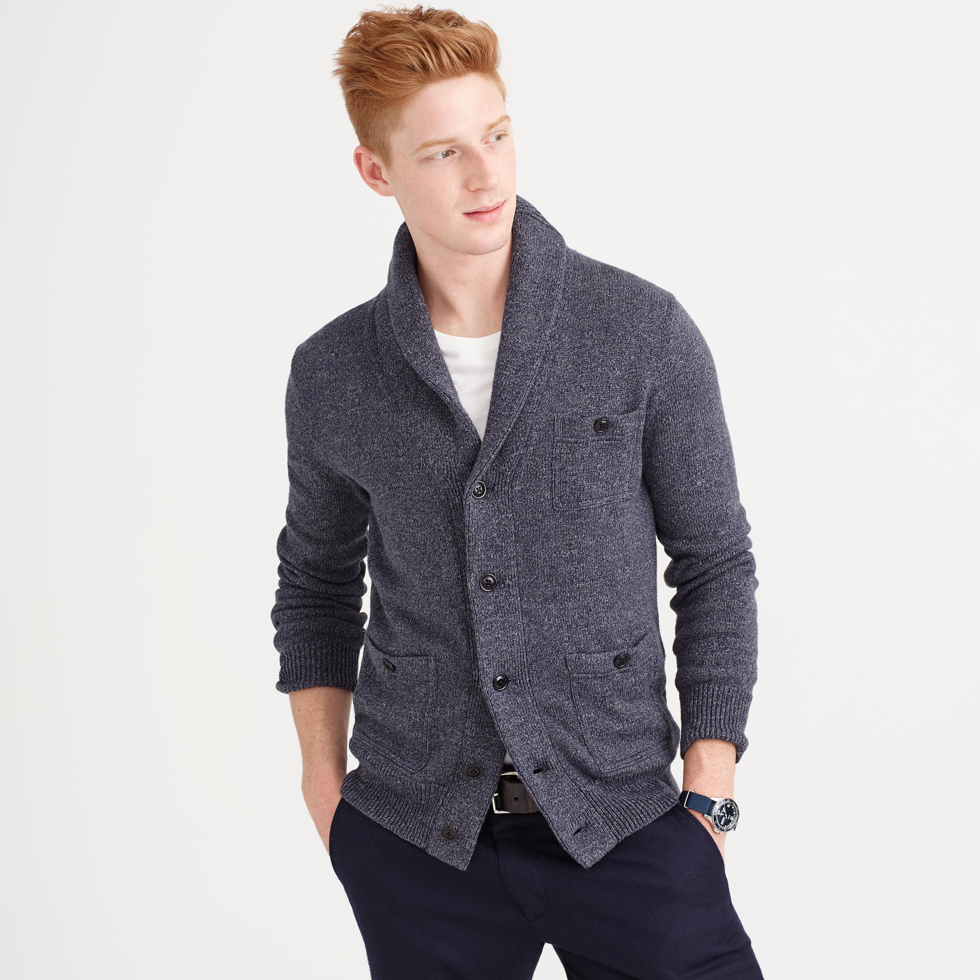 J.crew Cotton Cardigan Sweater In Marled Navy in Blue for Men | Lyst