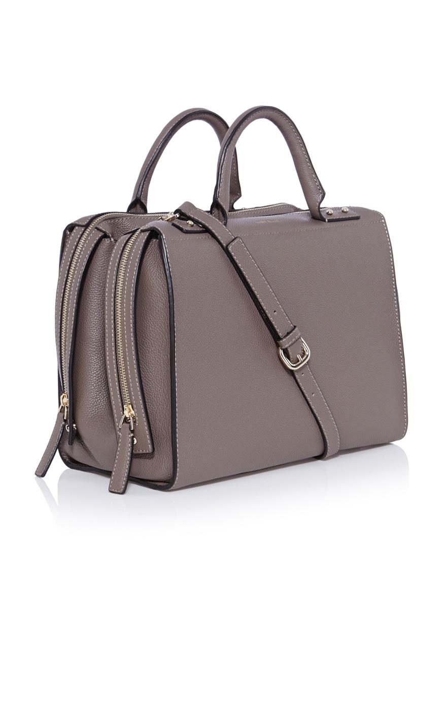 Karen Millen Large Leather Box Bag In Brown Lyst