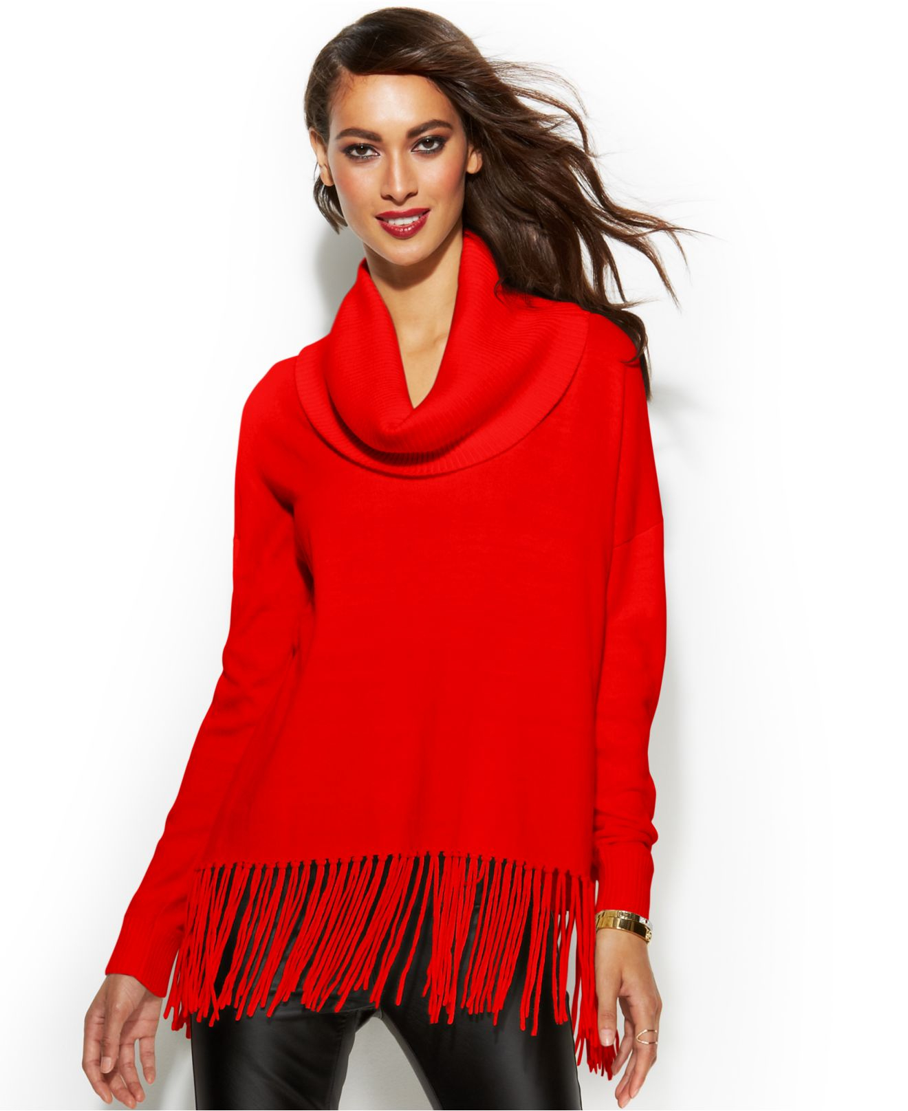 Michael kors Michael Petite Cowl-Neck Fringe Sweater in Red | Lyst