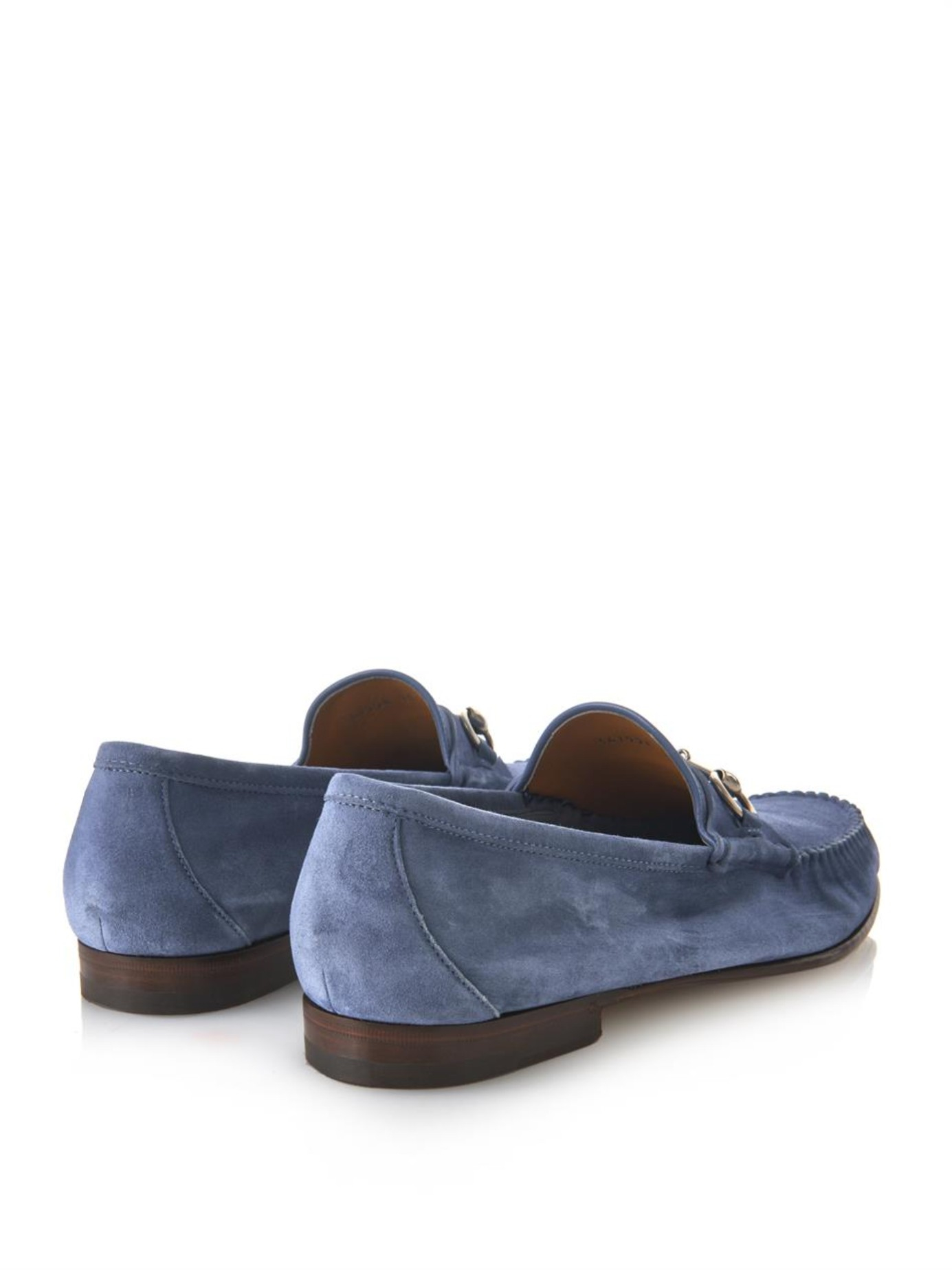 Lyst Gucci Roos Suede Loafers In Blue For Men