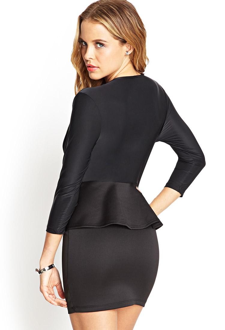 Forever 21 V Neck Peplum Dress In Black Black Black Lyst