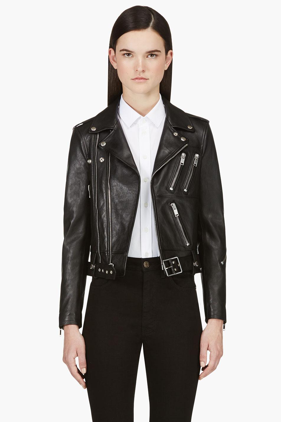 a910b4e5e06b Lyst - Saint Laurent Black Lambskin Biker Jacket in Black