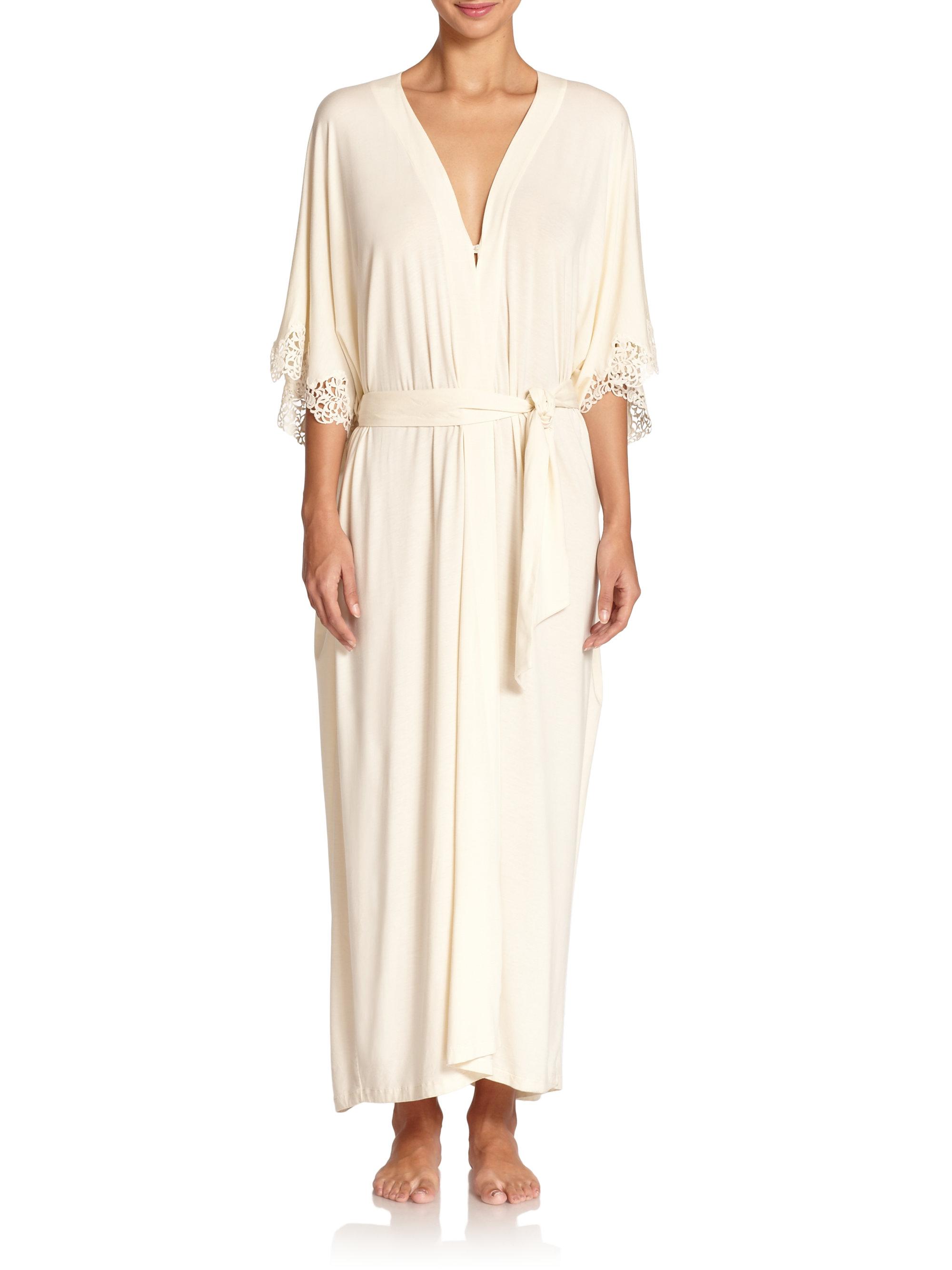 la perla macrame trim long robe in natural lyst With robe macramé