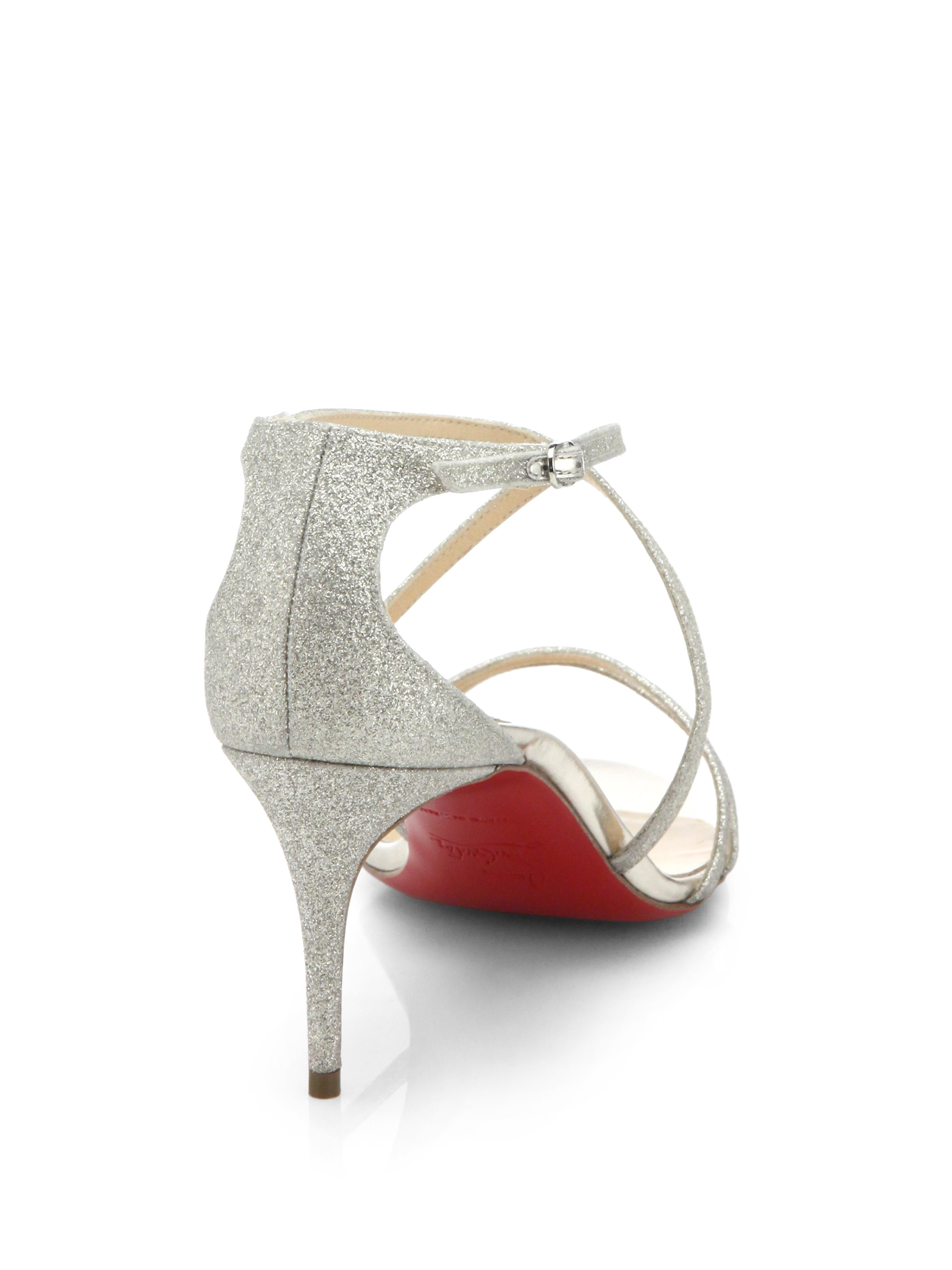 christian louboutin gwinee glittered leather sandals
