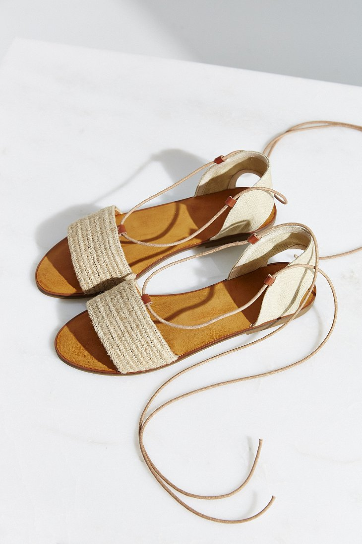 Ecote Lace Up Slide Sandal In Brown Lyst