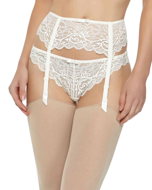 d2bb5c18202 Simone Perele Celeste Lace Garter Belt in White - Lyst