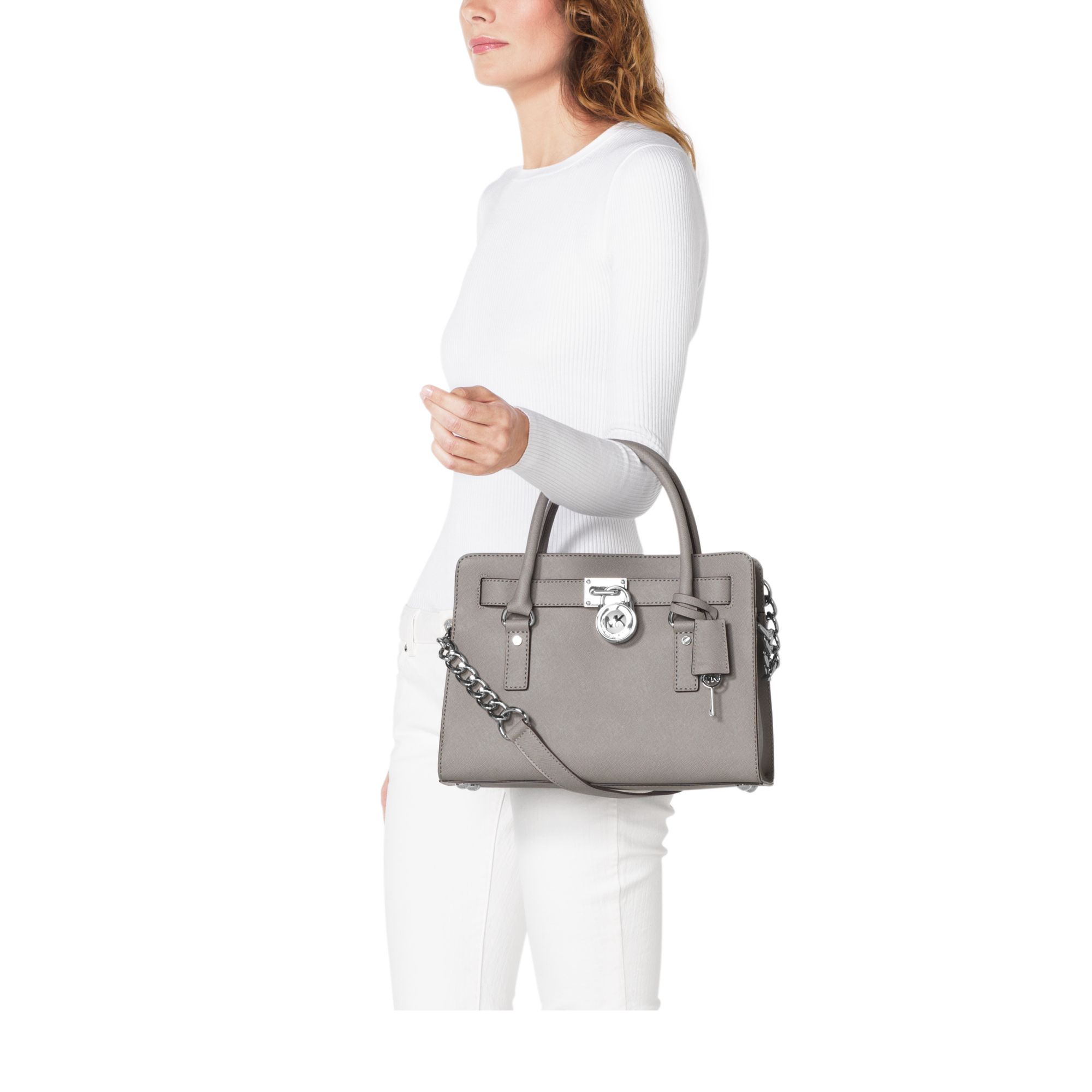 90894f181ee3 Michael Kors Hamilton Saffiano Leather Satchel in Gray - Lyst