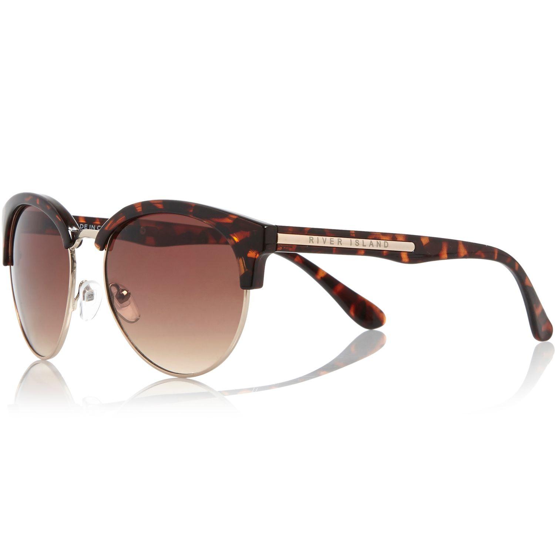 Sunglasses Island  river island brown tortoise flat top sunglasses in brown lyst