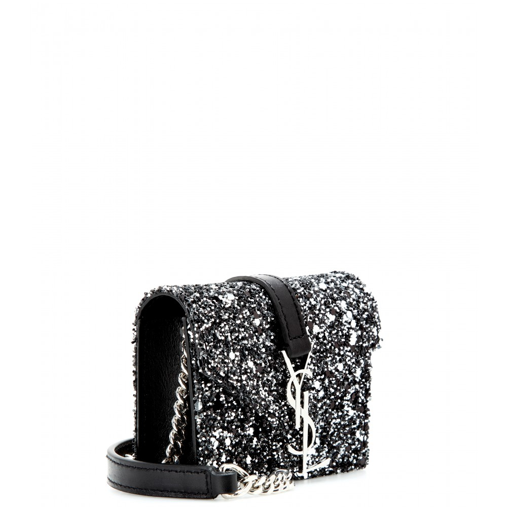 66009e2a709 Saint Laurent Candy Monogram Glittered Leather Shoulder Bag in Black ...
