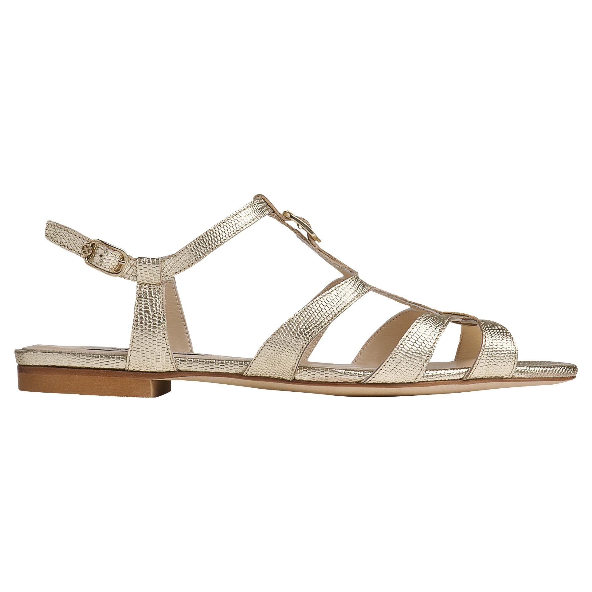 cd2d39b232038 L.K.Bennett Naomi Strappy Flat Sandals in Metallic - Lyst