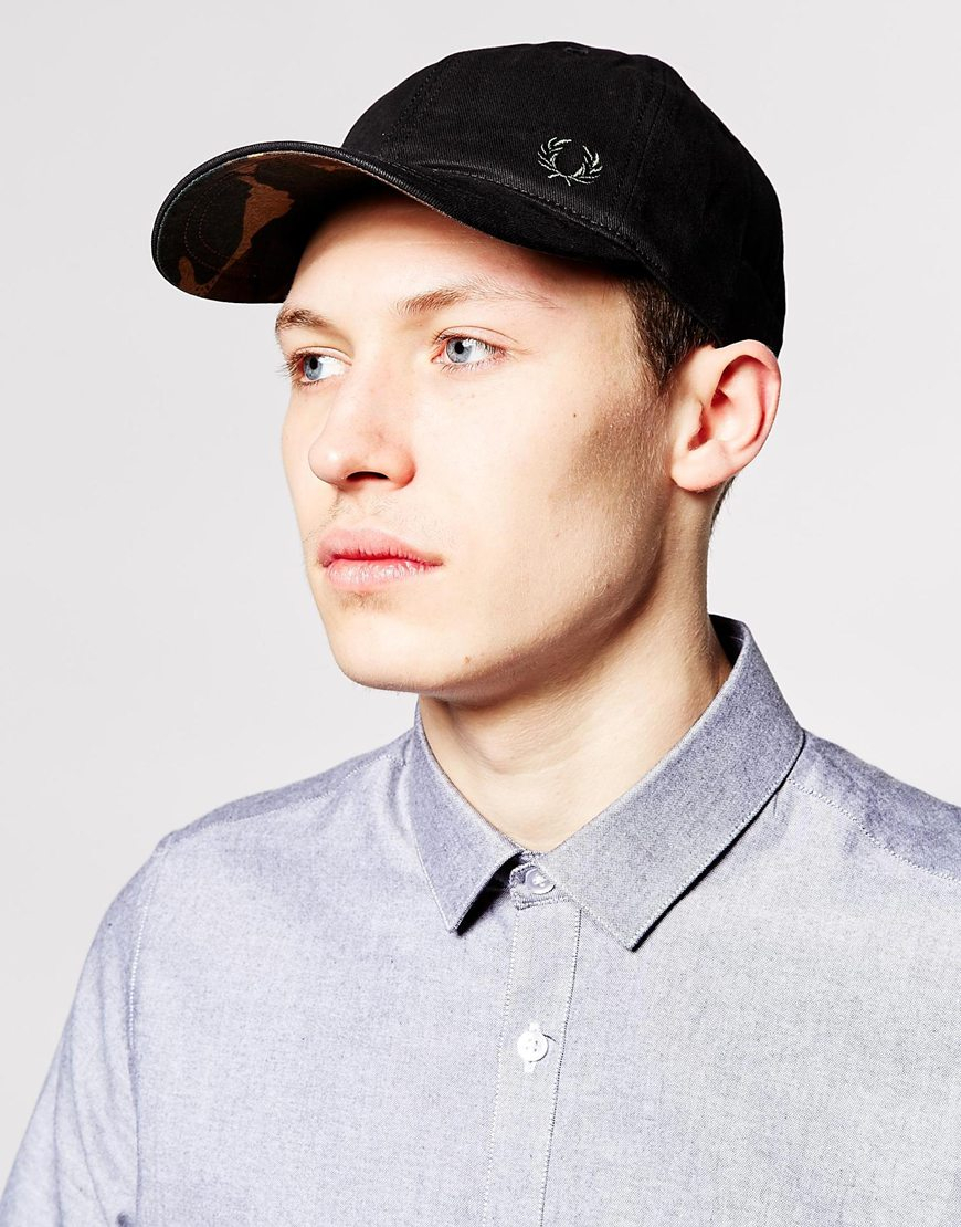 lyst fred perry classic baseball cap in black for men. Black Bedroom Furniture Sets. Home Design Ideas