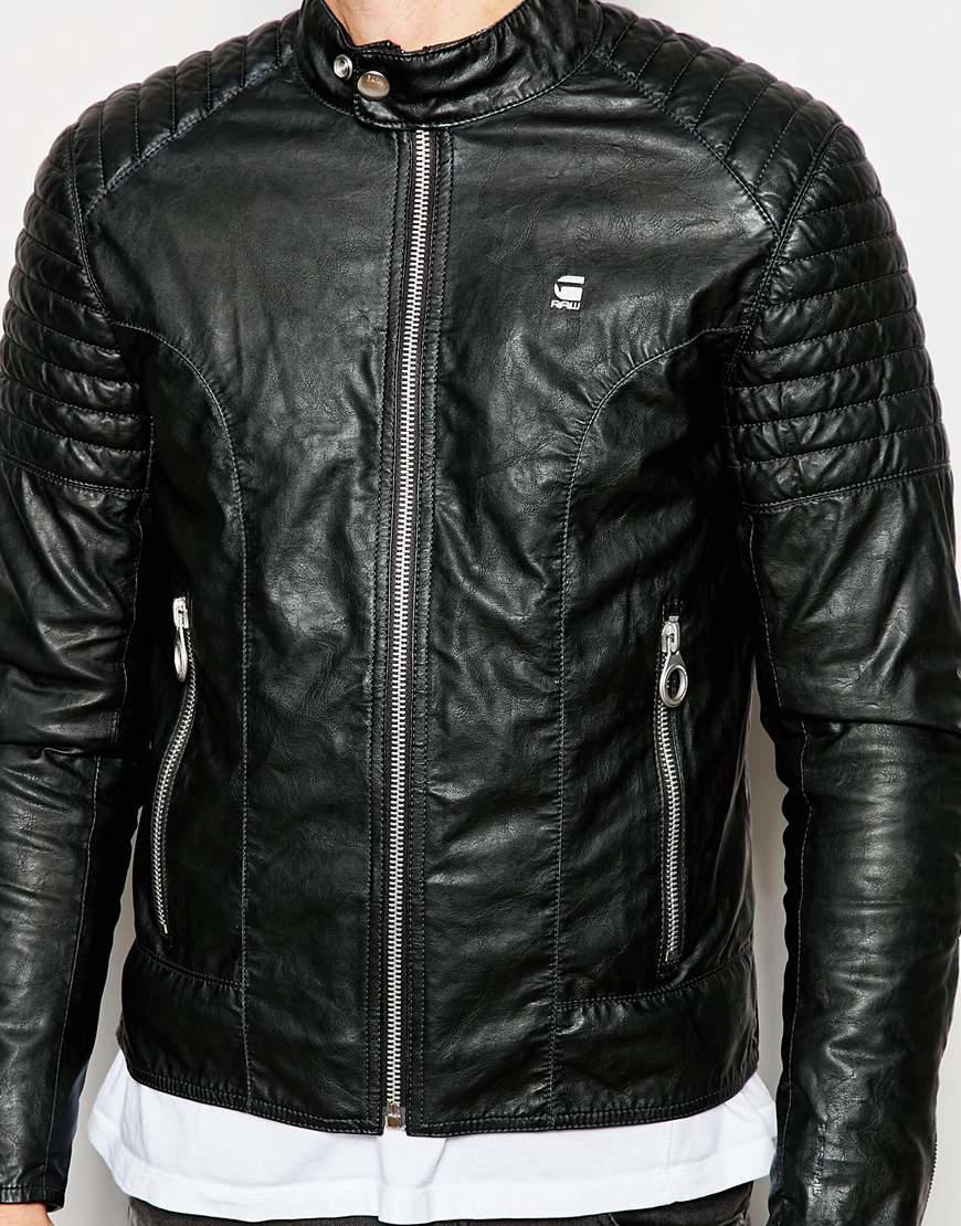 g star raw faux leather jacket aviator rebel biker in black for men lyst. Black Bedroom Furniture Sets. Home Design Ideas