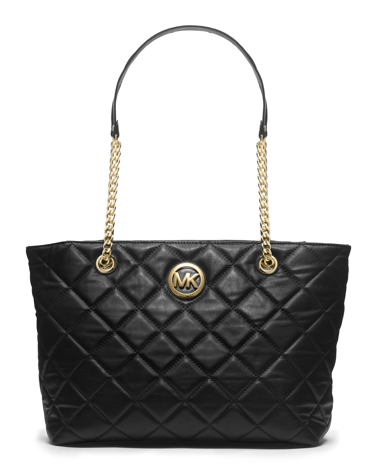 lyst michael kors michael large fulton quilted tote in black. Black Bedroom Furniture Sets. Home Design Ideas
