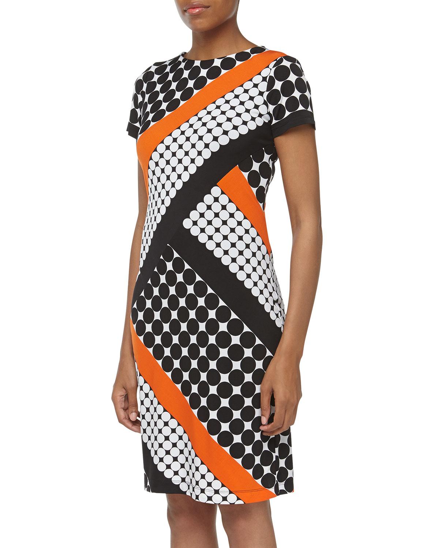 Muse Dotted Diagonal Stripe Print Sheath Dress Black Orange White in Orange (black) | Lyst