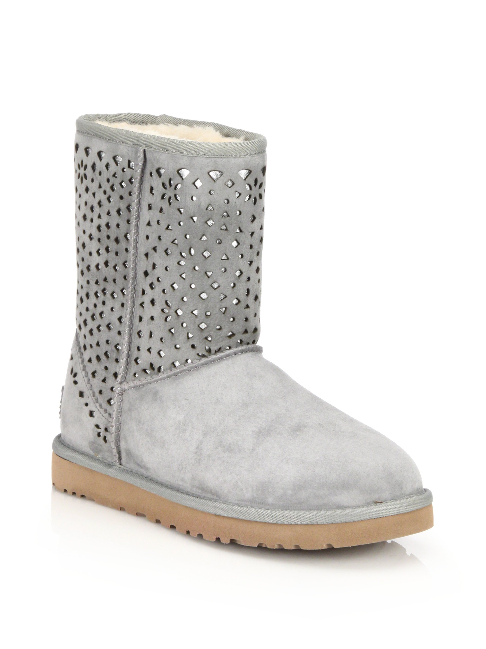 9c93ead4074 UGG Gray Classic Short Flora Perforated Boots