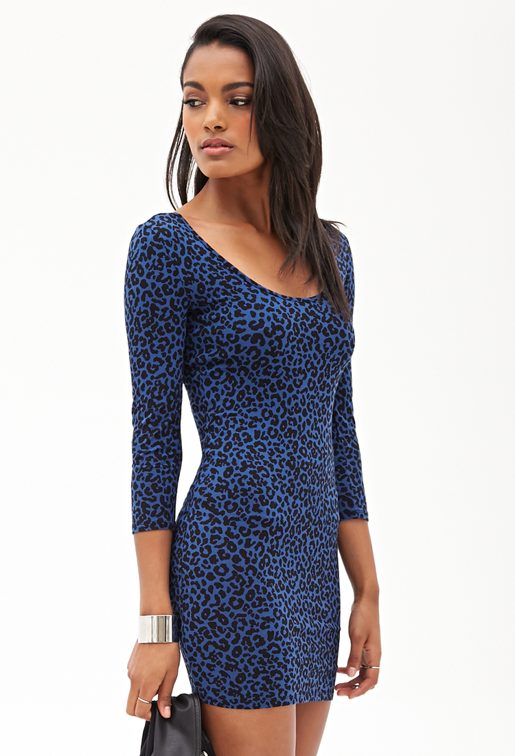 Forever 21 Leopard Print Bodycon Dress in Blue  Lyst
