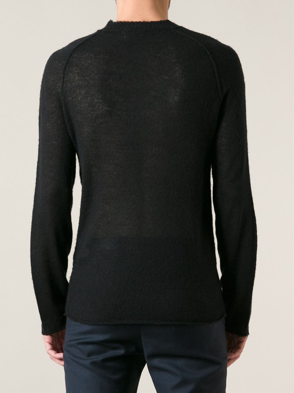 acne studios sheer sweater in black for men lyst. Black Bedroom Furniture Sets. Home Design Ideas