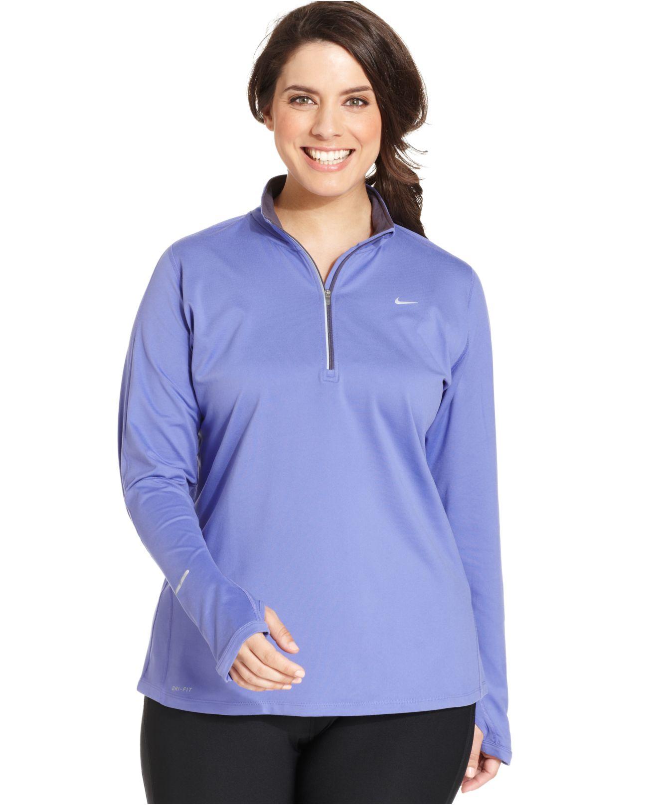 Nike Plus Size Element Long Sleeve Dri Fit Half Zip Top In