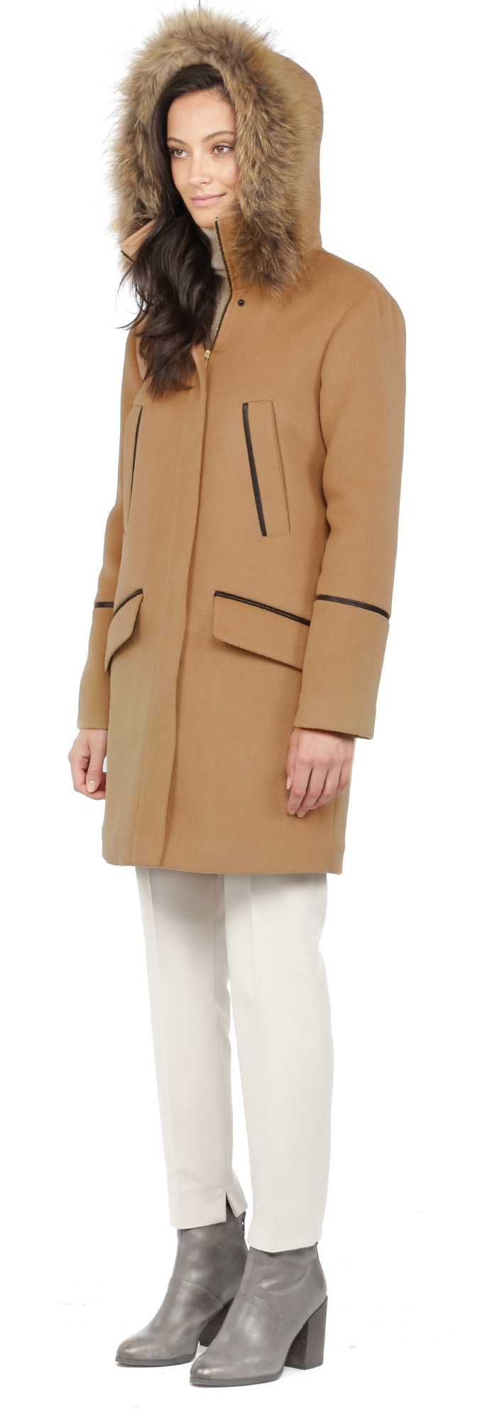 Lyst Soia Amp Kyo Ariane Camel Winter Wool Parka With Fur