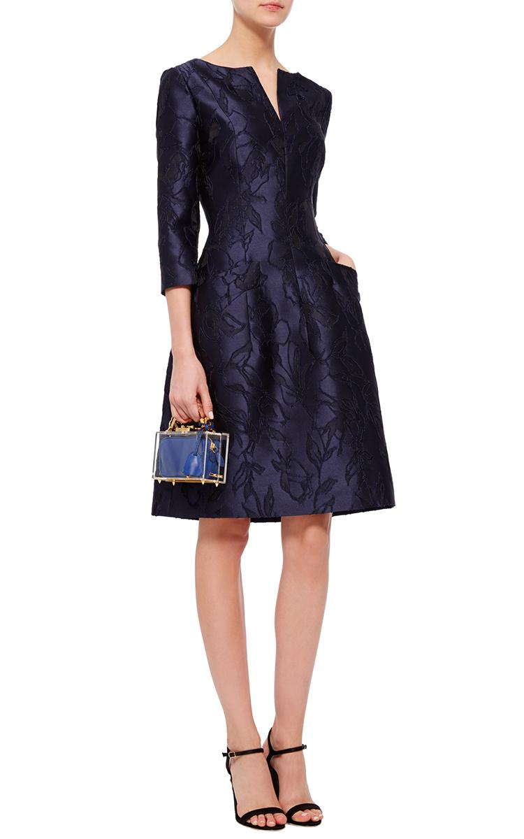 oscar de la renta navy floral embroidered dress in blue