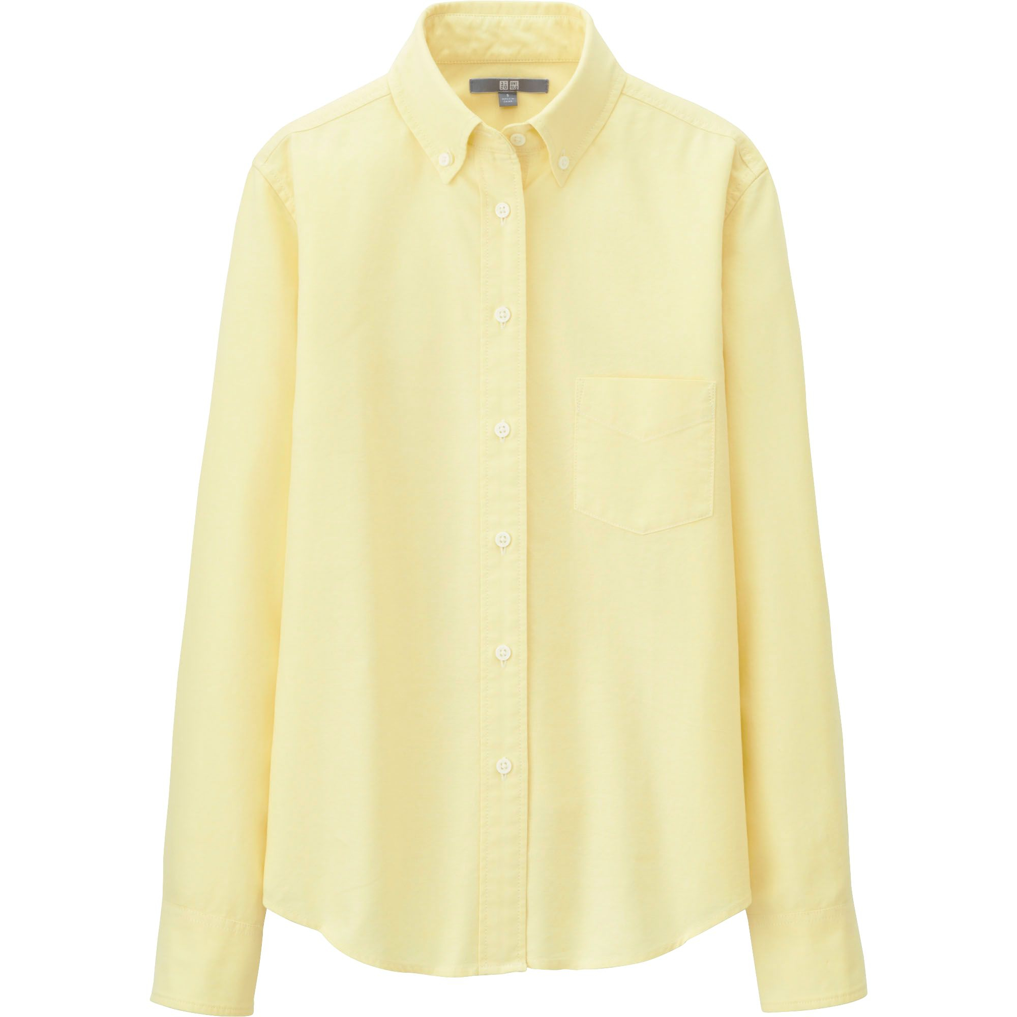 Uniqlo Oxford Long Sleeve Shirt In Yellow For Men Lyst