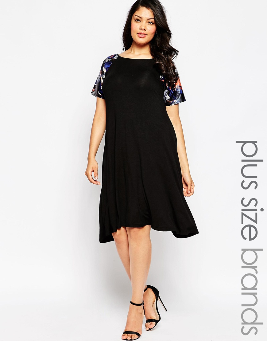 Club l Plus Size Swing Dress With Pu Floral Print Sleeves in Black ...