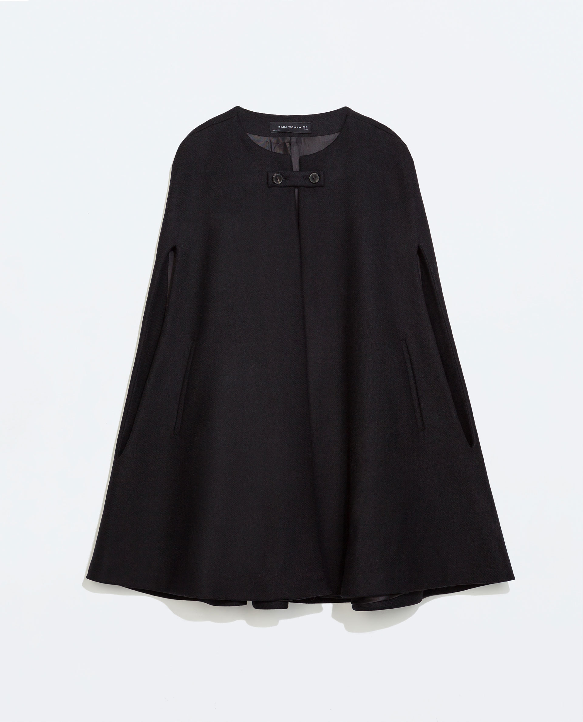 Zara Buttoned Cape Coat In Black | Lyst