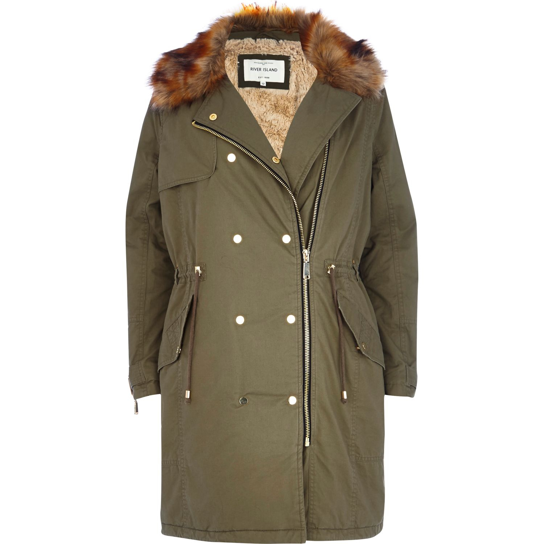 08469c5492 River Island Khaki Faux Fur Collar Parka Jacket in Green - Lyst