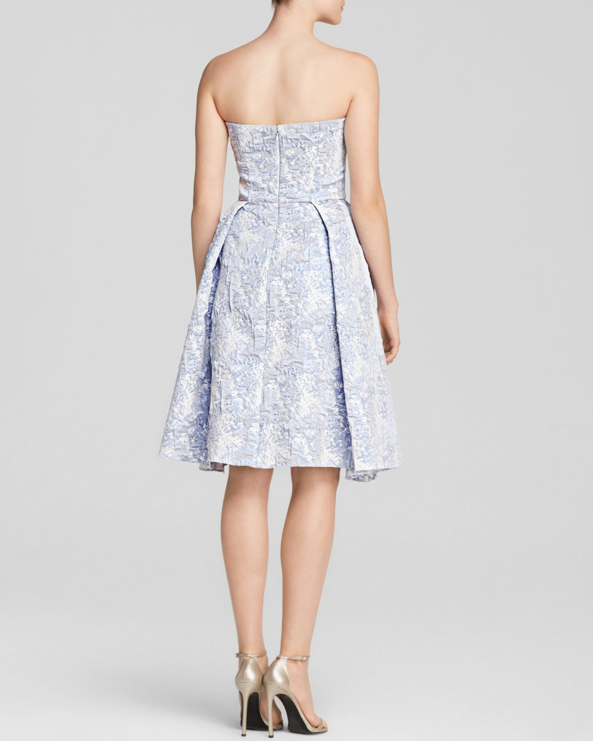 Vera Wang Strapless Jacquard Pleated Fit And Flare Dress