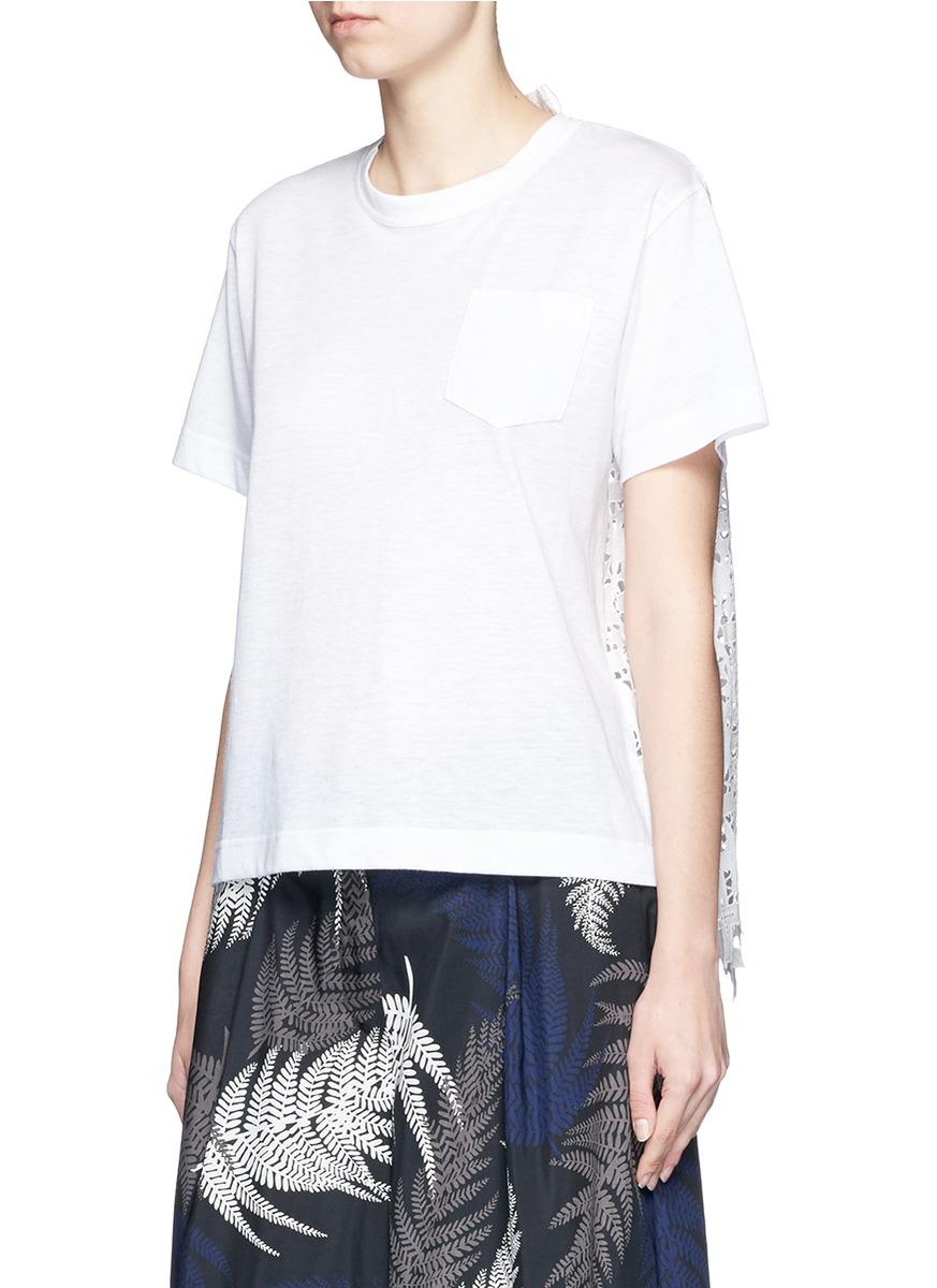 da38b7f00bfb Lyst - Sacai Star Lace Back Slub T-shirt in White