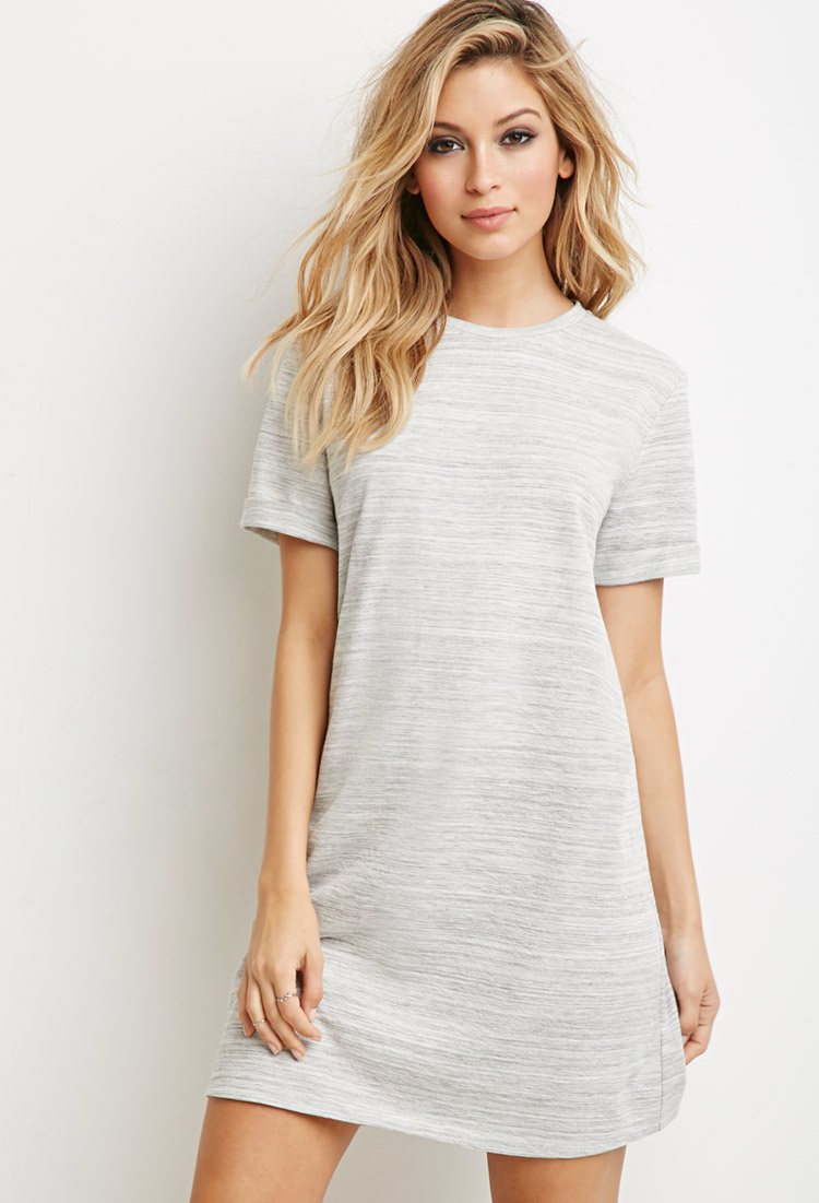 forever 21 marled knit t shirt dress in gray lyst