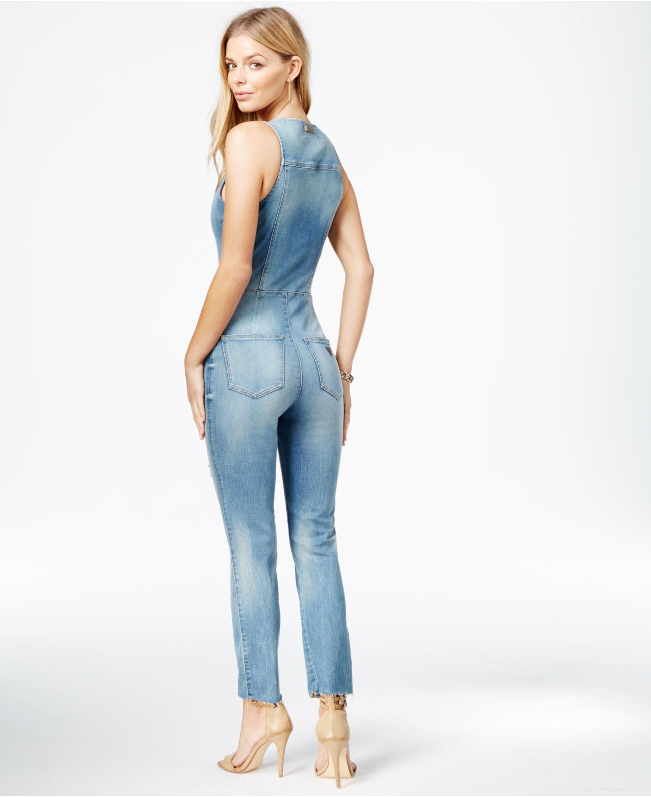 Lyst - Guess Chiara Ripped Denim Jumpsuit In Blue-8581