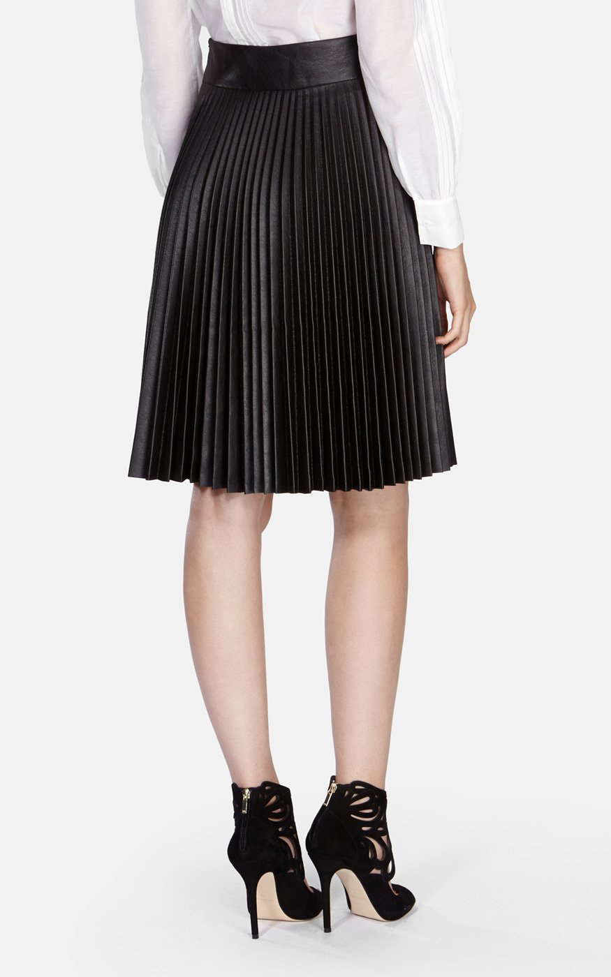 millen faux leather pleated skirt in brown lyst