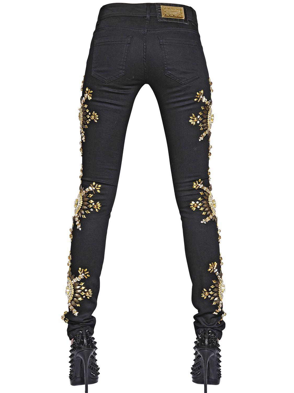 philipp plein embellished stretch cotton denim jeans in. Black Bedroom Furniture Sets. Home Design Ideas