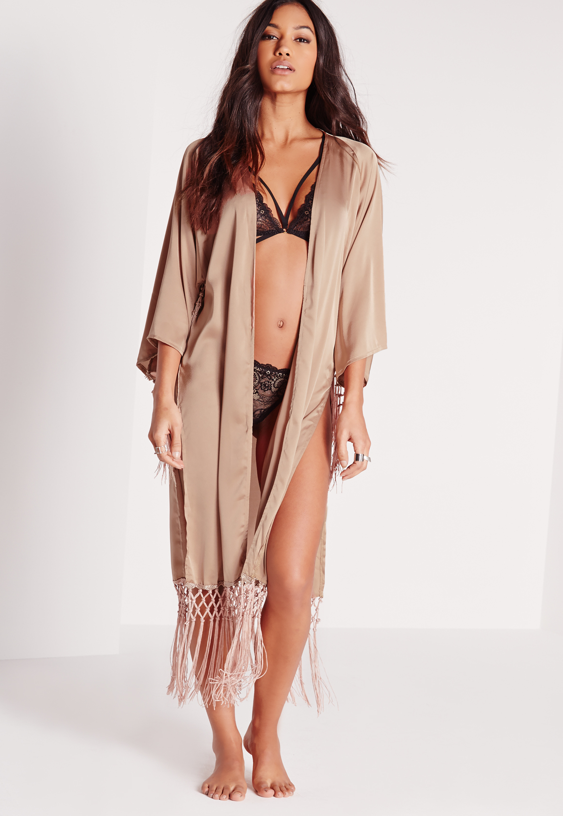 Lyst - Missguided Luxe Tassel Satin Dressing Gown Nude in Brown