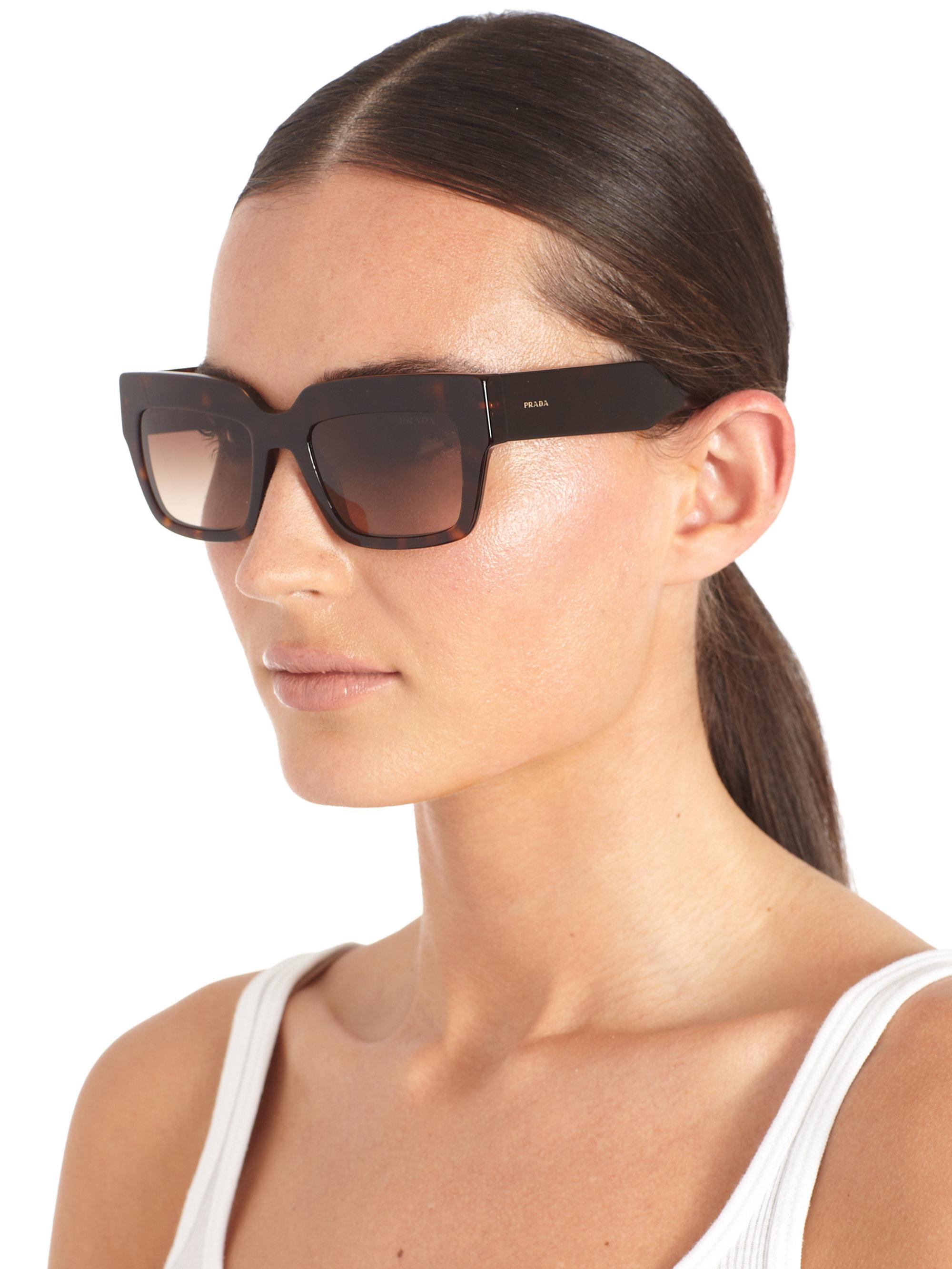 5ab21ec95a7 Lyst - Prada Poeme Tortoise-Print Square Sunglasses in Brown
