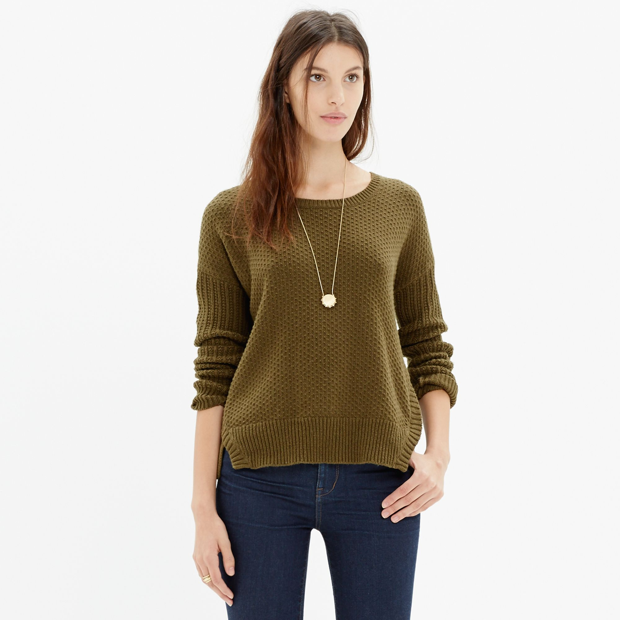 Madewell Texturemix Pullover Sweater in Green | Lyst