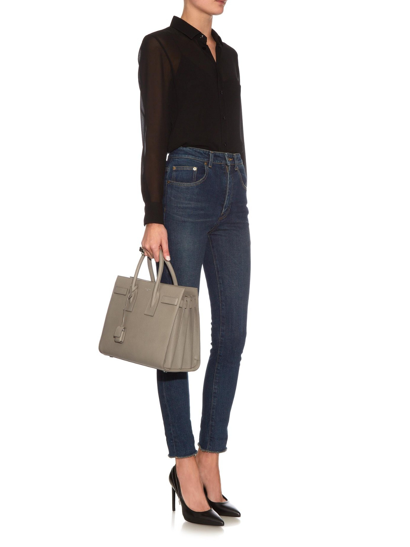 yves saint laurent cabas rive gauche small crocodile-embossed leather tote