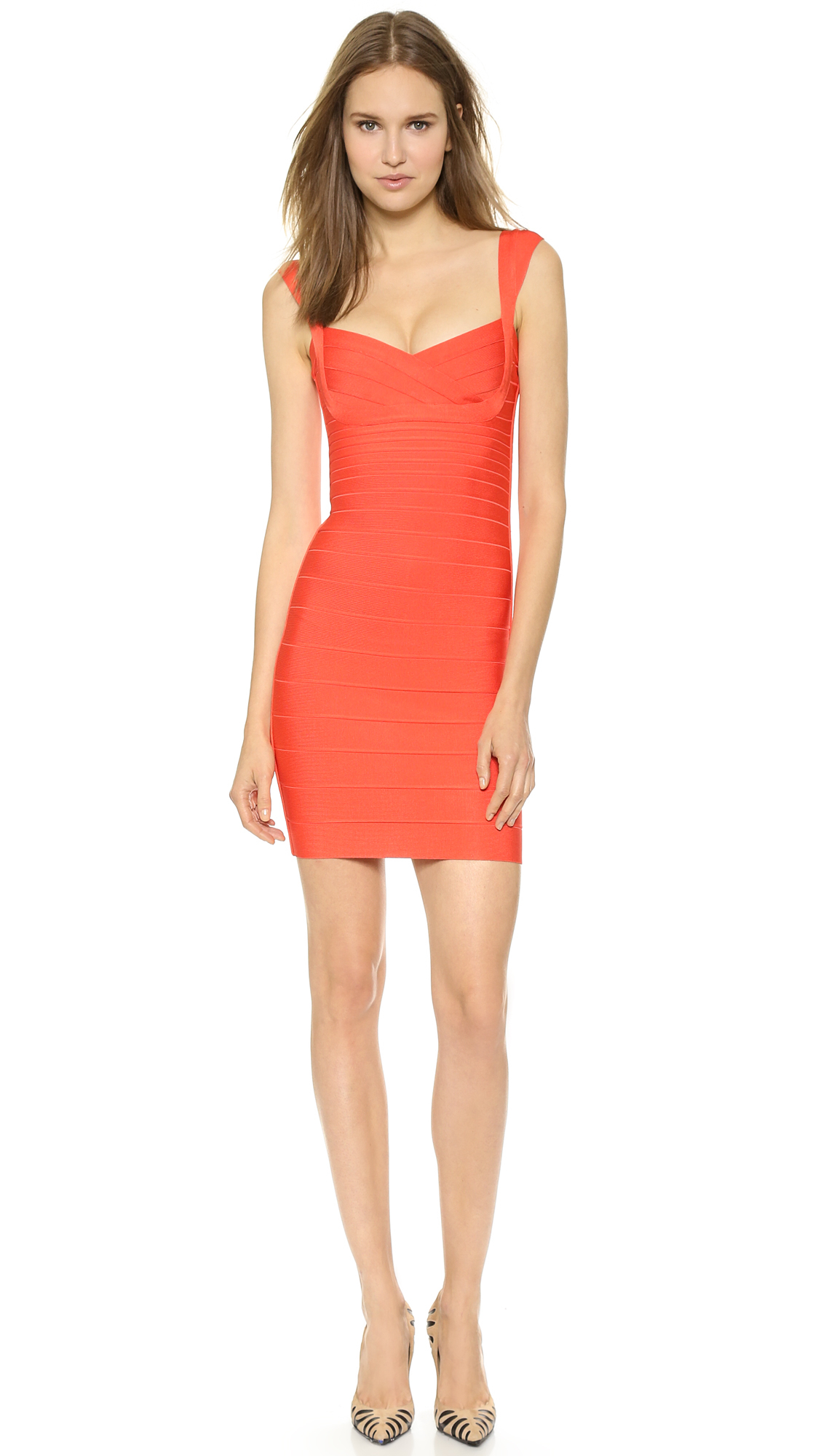 Hervé léger Abrielle Cocktail Dress Coral Red in Red | Lyst