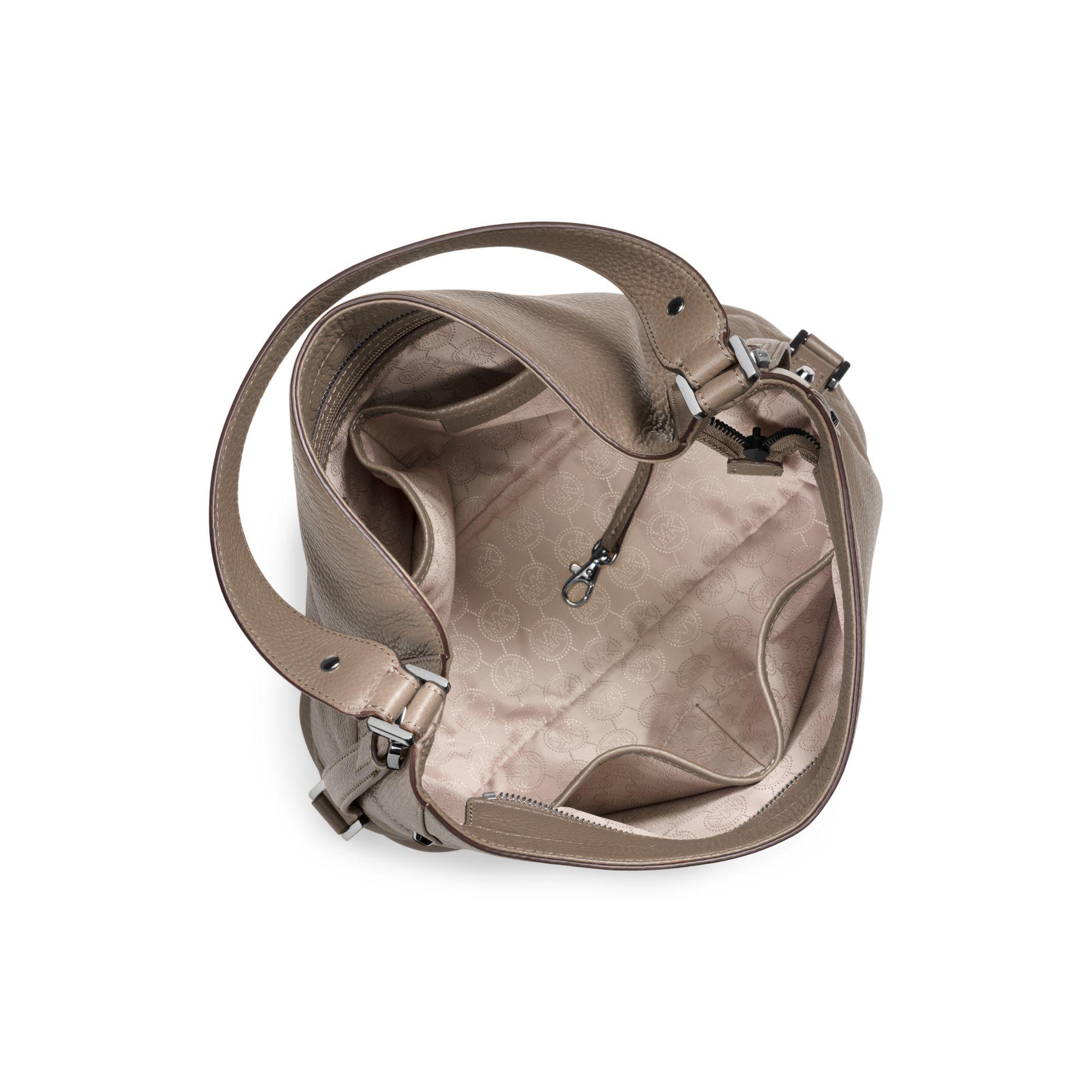 michael kors bedford large leather shoulder bag in brown. Black Bedroom Furniture Sets. Home Design Ideas