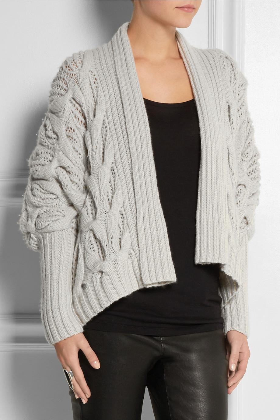 donna karan new york draped cable knit cashmere cardigan. Black Bedroom Furniture Sets. Home Design Ideas