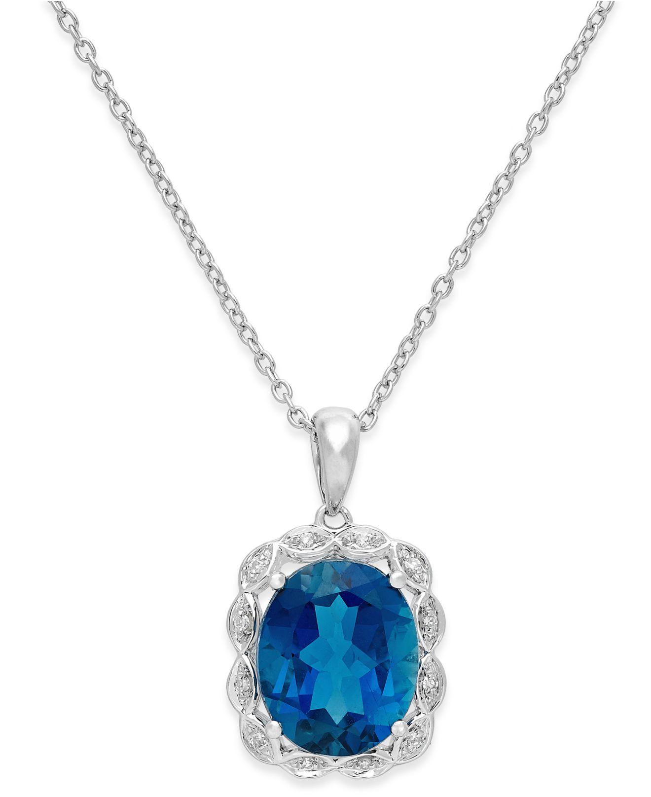 Blue London Blue Topaz Ct Tw And Diamond Accent Pendant