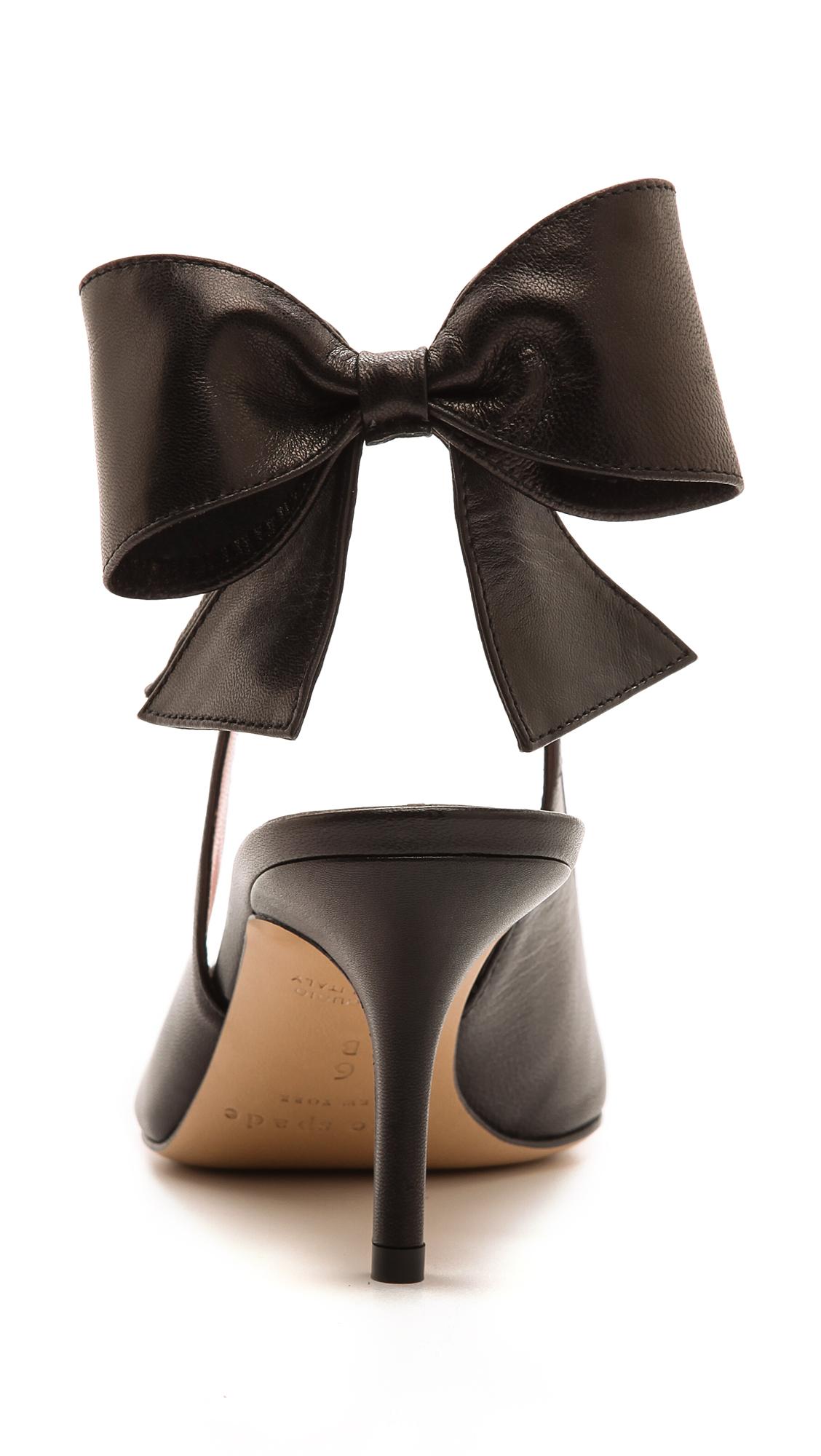 3bcd6505ebda Lyst - Kate Spade Jax Slingback Bow Pumps Black in Black