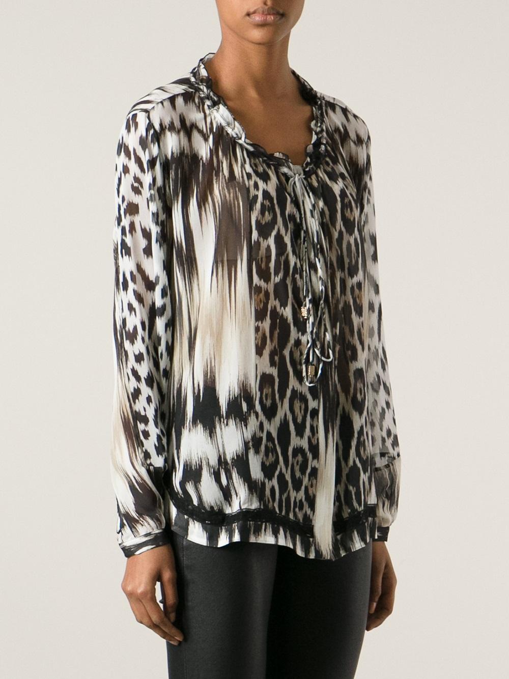 Purchase Discount New Arrival Roberto Cavalli leopard cowl neck blouse qM38VIO1qC