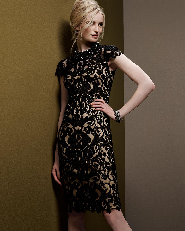 Tadashi shoji red and black lace dress